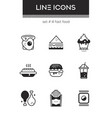 fast food - set of line design style icons vector image vector image