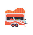 fast food trailer with seller street food vector image