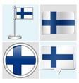 Finland flag - sticker button label flagstaff vector image vector image