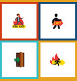 flat icon emergency set of entrance exit fire vector image vector image