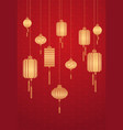 golden lanterns chinese calendar for new year of vector image
