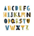 hand drawn latin font or hipster english alphabet vector image