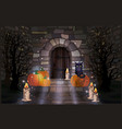 happy halloween night background with black cat vector image vector image