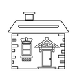 House with roof and chimney icon outline style vector image vector image