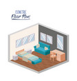 isometric floor plan of bedroom interior colorful vector image vector image