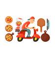 italian cook pizza delivery boy vector image vector image