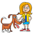 kid girl with funny dog cartoon vector image vector image