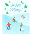 Kids play outdoor winter games background vector image