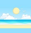 landscape sea beach cut out paper art design vector image vector image