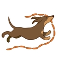 lucky dog with sausages vector image vector image