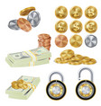 money secure concept metal coin money vector image vector image