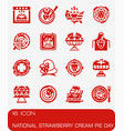 national strawberry cream pie day icon set vector image
