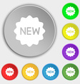 New Icon sign Symbol on eight flat buttons vector image vector image