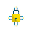 padlock with circuits to security dgital vector image vector image
