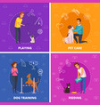 people with pets 2x2 cartoon square icons vector image vector image