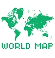 pixel art style world map green color shape vector image vector image
