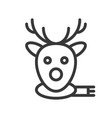 reindeer face christmas related line style icon vector image vector image