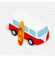 retro red bus with yellow surfboard isometric icon vector image vector image