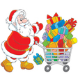 Santa with a shopping cart of gifts vector image