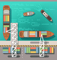 sea dock or cargo seaport with floating ships vector image