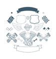 Set of biker label elements vector image