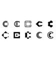 set of letter c logo vector image