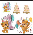 set of with brown teddy bear vector image vector image