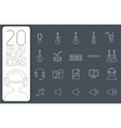 thin line music set icons concept vector image