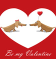 Valentines Day dog with balloons postcard text be vector image