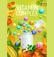 vitamin complex fruits minerals pharmacy poster vector image vector image