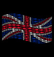 waving uk flag mosaic of fish pair icons vector image