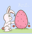 white bunny with big easter eggs vector image vector image