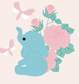 with cute elephant pink roses vector image vector image