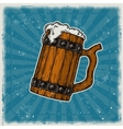Wooden mug of beer vector image