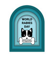 world rabies day banner with paper cut dog vector image