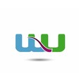 WU negative space letter logo vector image