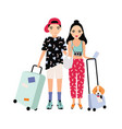 young male and female tourists dressed in trendy vector image vector image