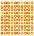 100 business strategy icons set orange vector image vector image