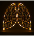 abstract neon human lungs circuit board vector image vector image