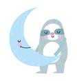 bashower cute sloth half moon cartoon vector image vector image