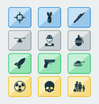 battle icons set collection of bombshell rocket vector image vector image