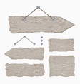 Blank wooden signs - hanging and light gray vector image