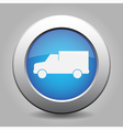 blue metal button with van icon vector image