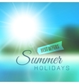 Blurry beach and blue sky with summer sun vector image vector image