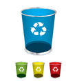bright glass recycle trash can icons or symbols vector image vector image
