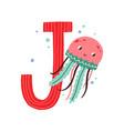 capital letter j english childish alphabet vector image