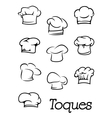 Chef and baker isolated toques silhouettes vector image vector image
