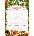 christmas holiday 2018 calendar template vector image vector image