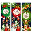 christmas merry holidays greeting banners vector image