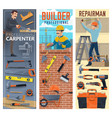 construction carpenter bricklayer and handyman vector image vector image